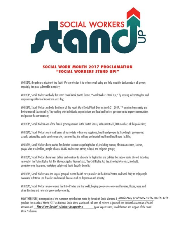 Social Work Month 2017 Proclamation