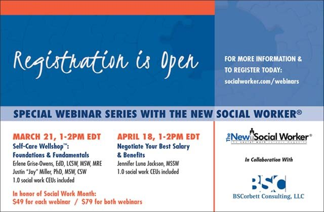 The New Social Worker Spring 2018 Webinar Series Registration Open