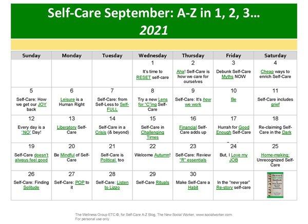 Self-Care September 2021 Calendar