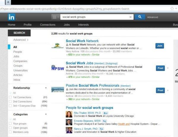 Linkedin Social Work Groups
