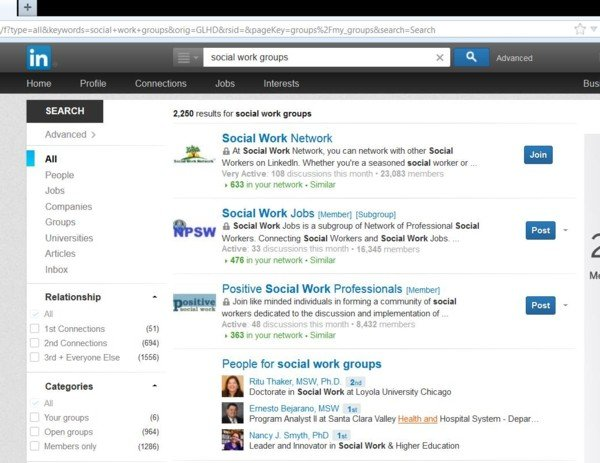 Linkedin Social Work Groups