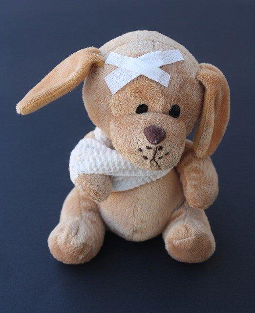 Teddy Bear With Broken Arm